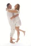 Very Happy Couple Isolated on White Stock Photo