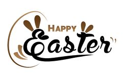 Very Happy Easter,bunny and egg with color background. Royalty Free Stock Image