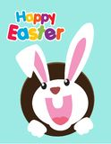 Very Happy Easter,bunny and egg with color background. Royalty Free Stock Photo