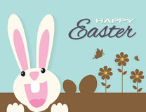 Very Happy Easter,bunny and egg with nature background Stock Photo