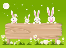 Very Happy Easter,bunny and eggs with wood sign Stock Images