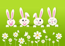 Very Happy Easter,bunny with flowers Stock Photos