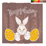 Very Happy Easter Vector banner, postcard, poster. Happy Easter rABBIT Background FOR POSTCARD, BANNER, vector Stock Image
