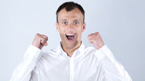 Very happy Energetic businessman , Success and good news. High quality royalty free stock images