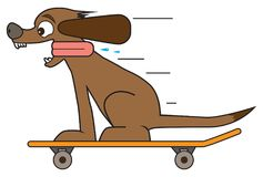 Dog on a Skateboard. A very happy and excited cartoon dog is riding a skateboard Stock Images