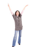 Very happy girl with arms raised Stock Photography