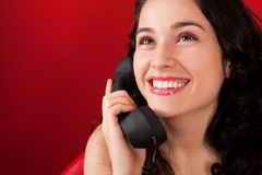 Very happy girl on the phone Stock Photography