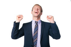 Very happy handsome businessman Stock Photography