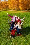 Very happy kids outside Stock Images