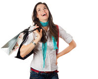 Very happy and laughing woman out shopping Stock Photos