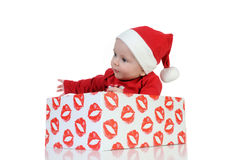 Very happy little girl in Santa Claus day Royalty Free Stock Photo