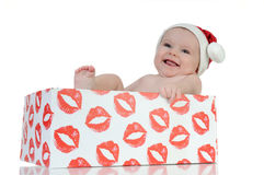 Very happy little girl in Santa Claus day Royalty Free Stock Photos