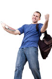 Very happy  male student. Very happy young male student with books and bag Royalty Free Stock Image