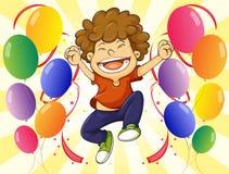 A very happy man with a dozen of balloons Stock Photos
