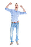 Very happy man isolated full body Royalty Free Stock Photos