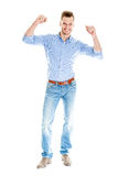 Very happy man isolated full body Stock Image