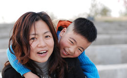 Very happy mother and son Stock Photo