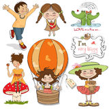 Very happy people, items set. In vector format isolate on white background Royalty Free Stock Photo