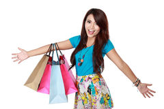 Very happy shopping girl Royalty Free Stock Images