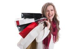 Very happy shopping girl Royalty Free Stock Photos