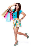 Very happy shopping girl Stock Photos