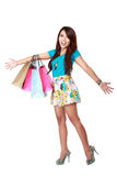 Very happy shopping girl Royalty Free Stock Photography