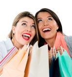 Very happy shopping girls Royalty Free Stock Photography