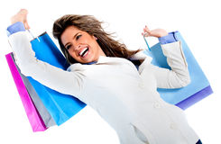 Very happy shopping woman Stock Images