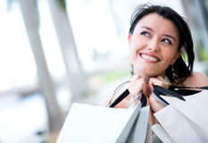 Very happy shopping woman Royalty Free Stock Image