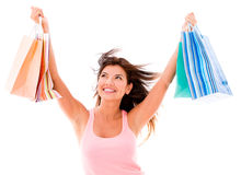 Very happy shopping woman Stock Photo