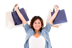 Very happy shopping woman Royalty Free Stock Images