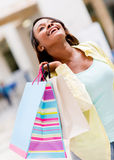 Very happy shopping woman Stock Photos