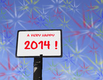 A very happy 2014. Sign with a happy new year wish for 2014 and many colorful explosions in the sky Vector Illustration