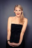 Very happy smiling female model Royalty Free Stock Photo