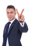 Very happy successful gesturing businessman stock photo