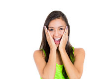 Very happy and surprised mixed race woman. Stock Image