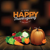 Very happy Thanksgiving on wood with blurred background. EPS 10 vector royalty free illustration