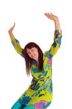 Very happy woman with hands up. Royalty Free Stock Photo