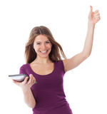 Very happy woman holding a touchpad Stock Photography