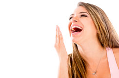 Happy woman laughing Stock Photos