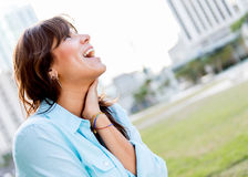 Very happy woman Stock Images