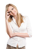 Very happy young blond woman. Royalty Free Stock Photo