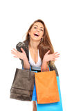 Very happy young girl. Happy young girl smile with shopping bags Royalty Free Stock Image
