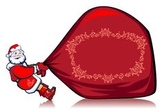 Very heavy bag with gifts. Santa Klaus drags the very big red bag with gifts Stock Photography