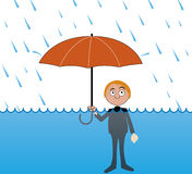 Very heavy rain. Vector illustration Man under very heavy rain Stock Photography
