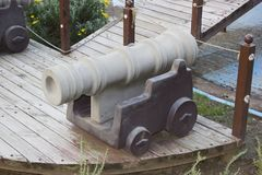 Historical cannon ball toy model. Very high detailed photo of the historical cannon ball toy model Royalty Free Stock Photography