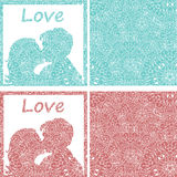 Very high quality original illustration of kissing pair with ori Stock Photo