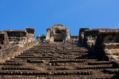 Very high stairs in Angor wat temple in Cambodia Royalty Free Stock Photo