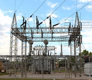 Very High Voltage Power Hub Station Royalty Free Stock Photos