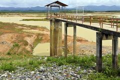 Almost empty reservoir in southern thailand during the hot season stock images